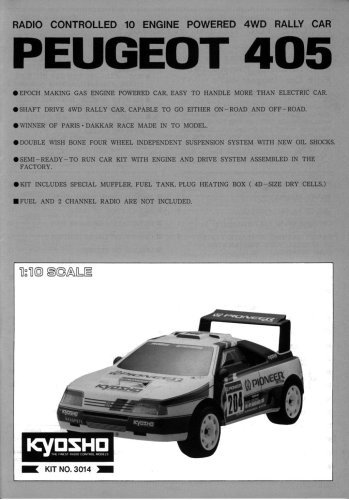 Kyosho PEUGEOT 405 1/10 gas car instruction manual #3014